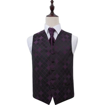 Cadbury Purple Diamond Patterned Wedding Waistcoat & Cravat Set 48