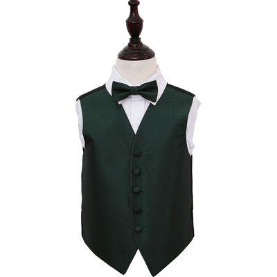 Boy's Dark Green Greek Key Patterned Wedding Waistcoat & Bow Tie Set 32