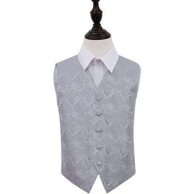Boy's Silver Paisley Patterned Wedding Waistcoat 26