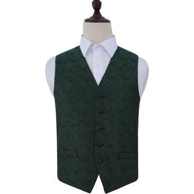 Emerald Green Paisley Patterned Wedding Waistcoat 38