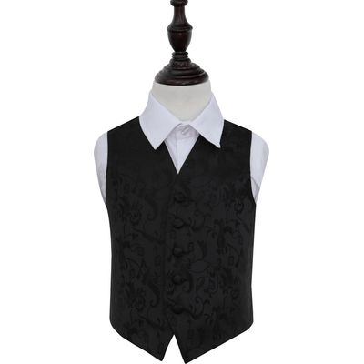 Boy's Black Passion Floral Patterned Wedding Waistcoat 32