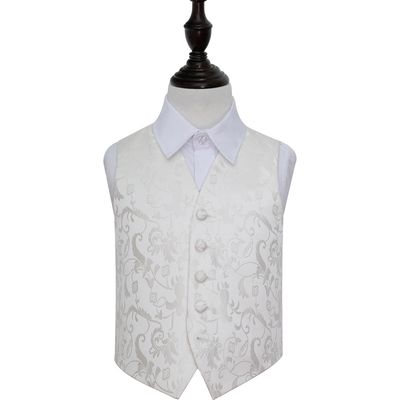 Boy's Ivory Passion Floral Patterned Wedding Waistcoat 30