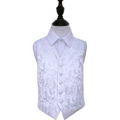 Boy's White Passion Floral Patterned Wedding Waistcoat 22