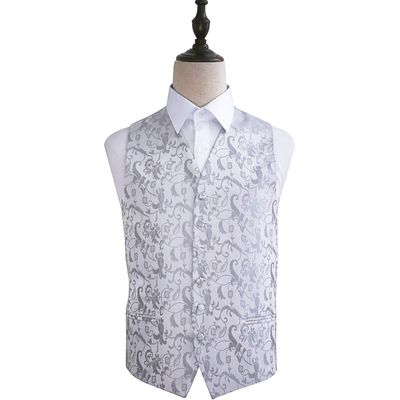 Silver Passion Floral Patterned Wedding Waistcoat 36