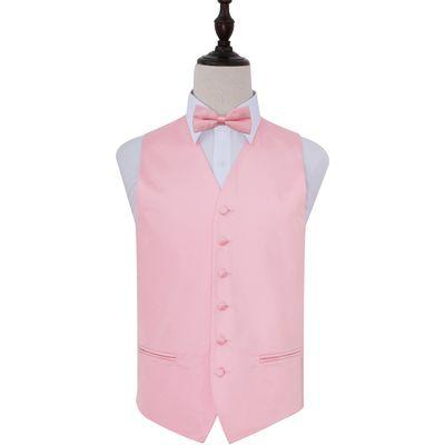 Baby Pink Plain Satin Wedding Waistcoat & Bow Tie Set 44