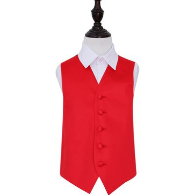 Boy's Red Plain Satin Wedding Waistcoat 26