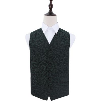 Black & Green Swirl Patterned Wedding Waistcoat 36