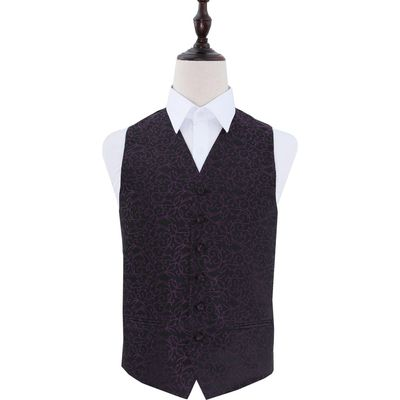 Black & Purple Swirl Patterned Wedding Waistcoat 36