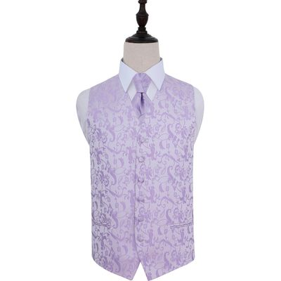 Lilac Passion Floral Patterned Wedding Waistcoat & Tie Set 40
