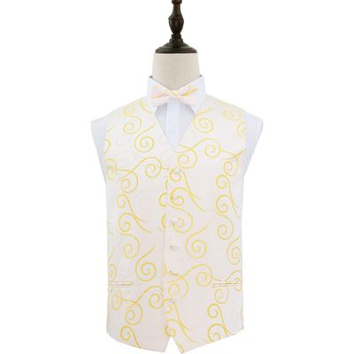 Gold Scroll Patterned Wedding Waistcoat & Bow Tie Set 42