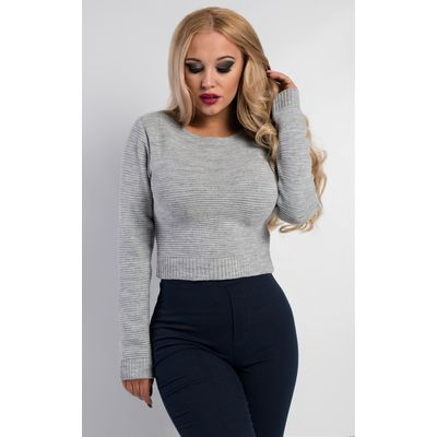 IKRUSH Womens Eda Cropped Knitted Jumper