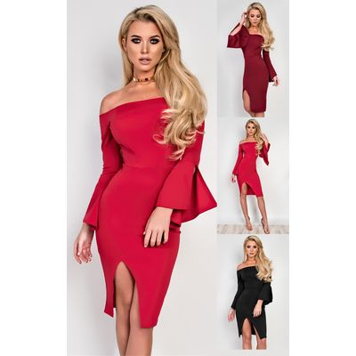 IKRUSH Womens Macy Off Shoulder Bodycon Dress