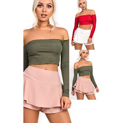 IKRUSH Womens Jenner Frill High Waist Shorts