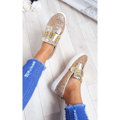 IKRUSH Womens Konnie Sequin Gem Slip On Trainers