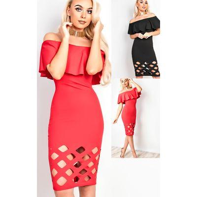 IKRUSH Womens Samanthia Lasercut Off Shoulder Bodycon Dress