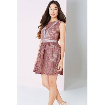 Rose Lace Panel Mini Dress