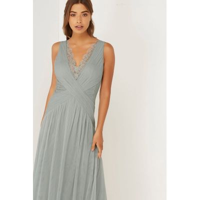Grey Lace Maxi With Pleats