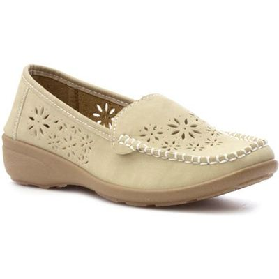 Softlites Womens Beige Casual Loafer Shoe