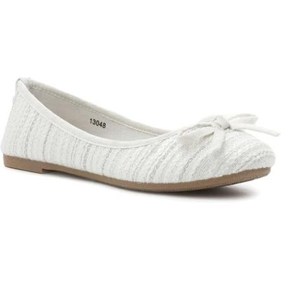 Lilley Womens White Bow Knitted Effect Ballerina