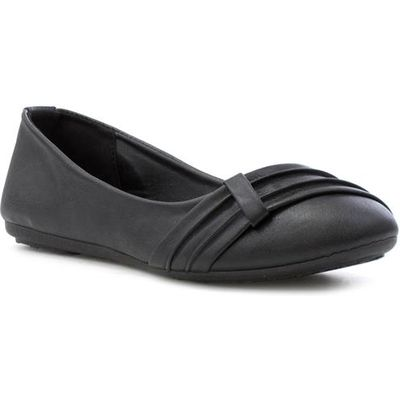 Lilley Womens Black Front Pleated Ballerina