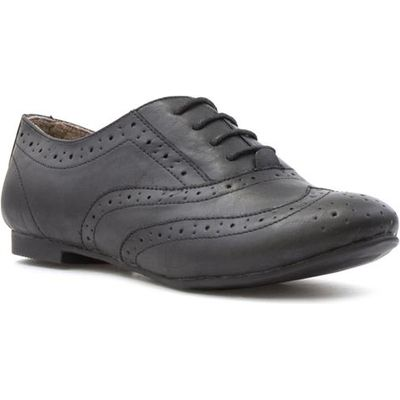 Lilley Womens Black Lace Up Brogue Shoe