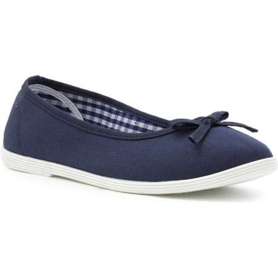 Lilley Womens Navy Slip Ballerina Canvas Shoe