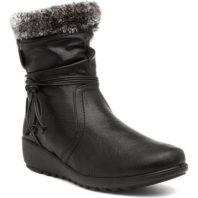 Lilley Womens Black Faux Fur Lace-Up Ankle Boot