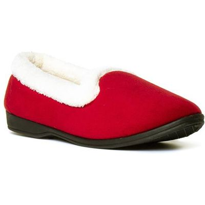 Womens Red Velour Memory Foam Full Slipper