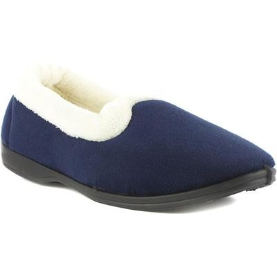 Womens Navy Velour Memory Foam Full Slipper