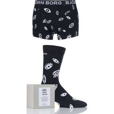 Mens 2 Pack Bjorn Borg Gift Boxed Watch Out Short Shorts and Socks