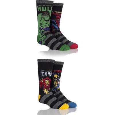 Kids 4 Pair SockShop Marvel Comics Mix Hulk, Spider-Man, Iron Man & Wolverine Socks