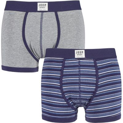 Mens 2 Pack Jeep Spirit Stripe and Plain Cotton Rich Fitted Trunks