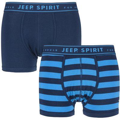Mens 2 Pack Jeep Spirit Wide Stripe and Plain Cotton Rich Trunks