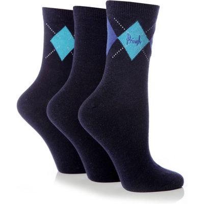 Ladies 3 Pair Pringle Rachael Single Argyle Socks