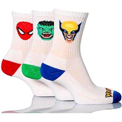 Boys 3 Pairs Marvel Heroes White Sports Socks - Hulk, Spider-Man & Wolverine