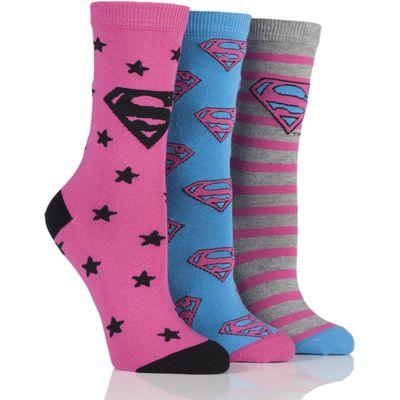 Ladies 3 Pair DC Superman / Superwoman Logo Socks