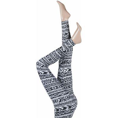 Ladies 1 Pair Silky Aztec Fair Isle Design Everyday Leggings