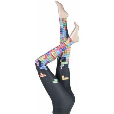 Ladies 1 Pair Silky Tetris Block Design Everyday Leggings