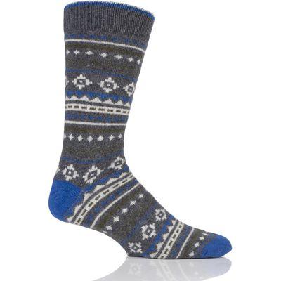 Mens 1 Pair Urban Knit Fairisle Wool Boot Socks
