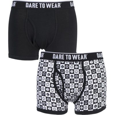 Mens 2 Pack Dare to Wear Fitted Keyhole Trunks with Exclusive DTW Art Design