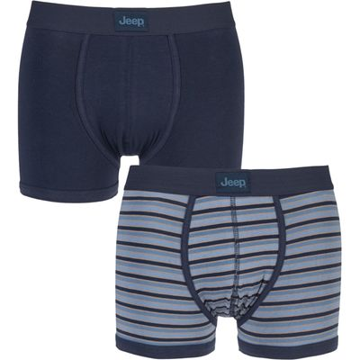 Mens 2 Pack Jeep Dual Stripe and Plain Hipster Trunks