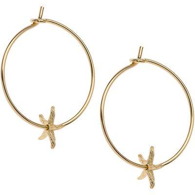 Orelia-Earrings - Starfish Charm Hoops - Gold
