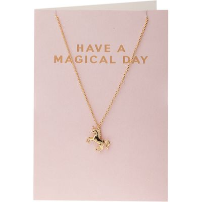 Orelia-Necklaces - Have A Magical Day Unicorn Giftcard - Gold