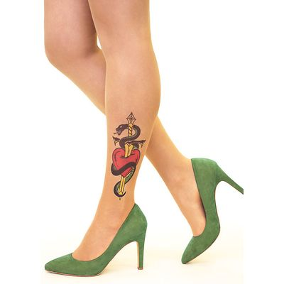 Stop And Stare Heart Dagger Tights