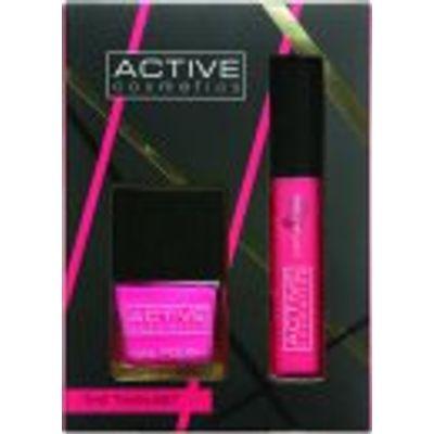 Active Cosmetics The Twin Set Pink Nail Polish + Pink Lip Gloss