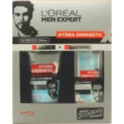 L'Oreal Men Expert Hydra Energetic Barber Shop Gift Set 150ml Face Wash + 50ml Moisturising Gel