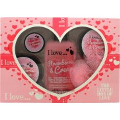 I Love... The Little Box of Love Strawberry and Cream Gift Set 250ml Bath & Shower Cremé + 50ml Bod