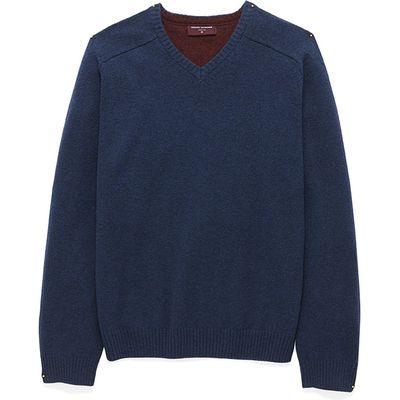 Barnham Mid Blue Lambswool V-Neck Knitwear