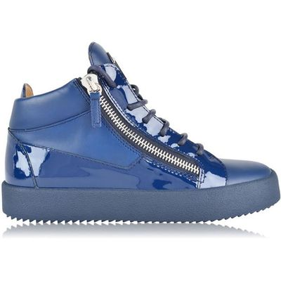 GIUSEPPE ZANOTTI May Patent Trim Mid Top Trainers