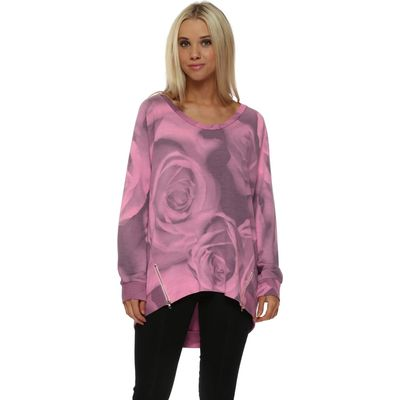 Pippa Photo Rose Zip Sweater In Passion